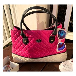 Betsey Johnson Quilted Handbag In Bright Pink